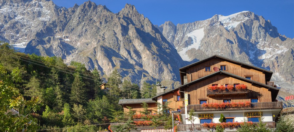 The hotel and the Grandes Jorasses